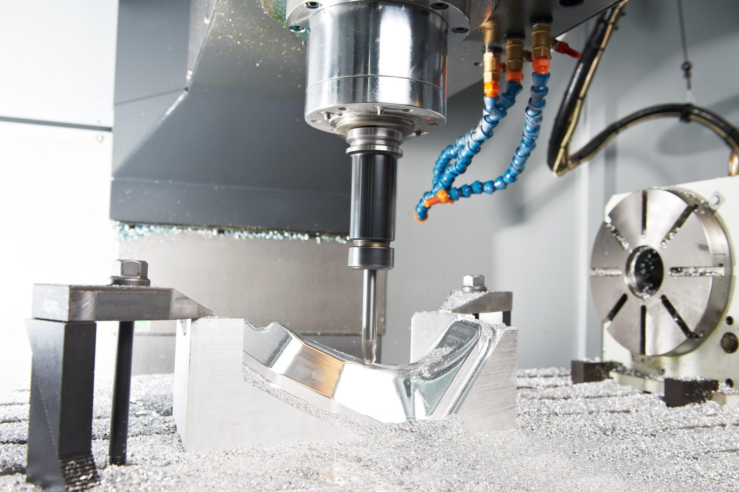 cnc milling process closeup-